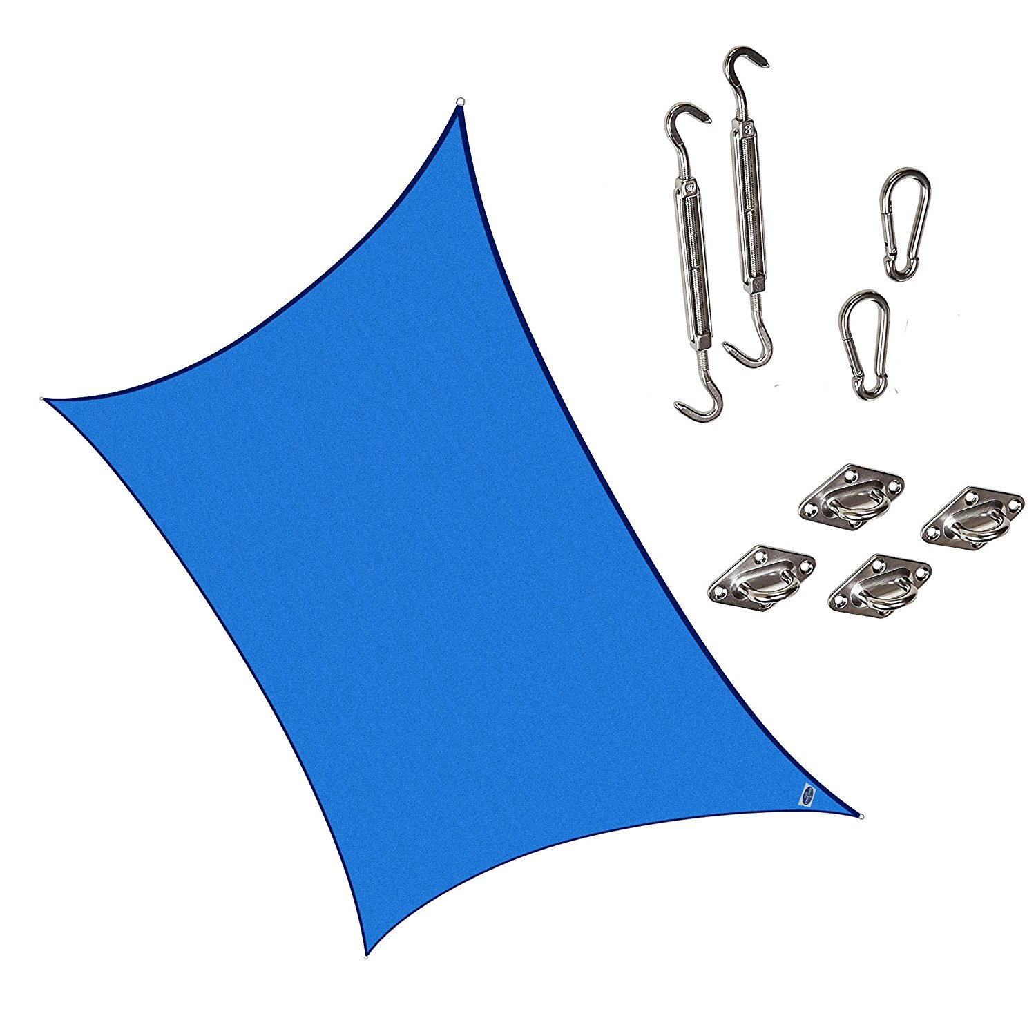 Cool Area Rectangle 9'10'' X 13' Sun Shade Sail with Stainless Steel Hardware Kit, UV Block Fabric Patio Shade Sail in Color Sand