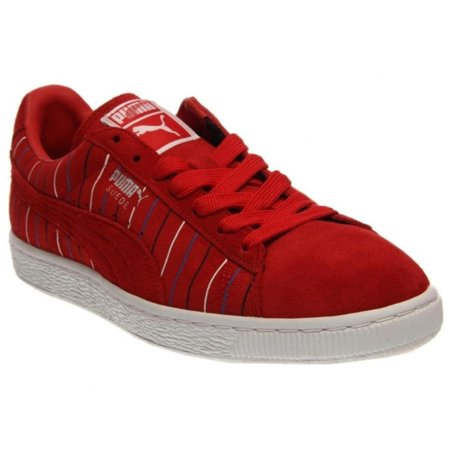 wholesale dealer 01825 23b8e Puma Suede Striped Sneaker Mens Red/White Sneakers