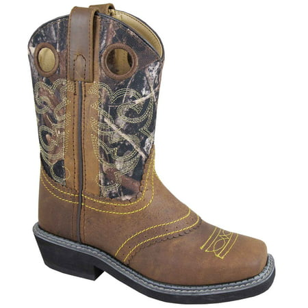 Smoky Mountain Kid's Pawnee Brown Oil Distress/Camo Western Boots (The Mountain All Mountain Boot)
