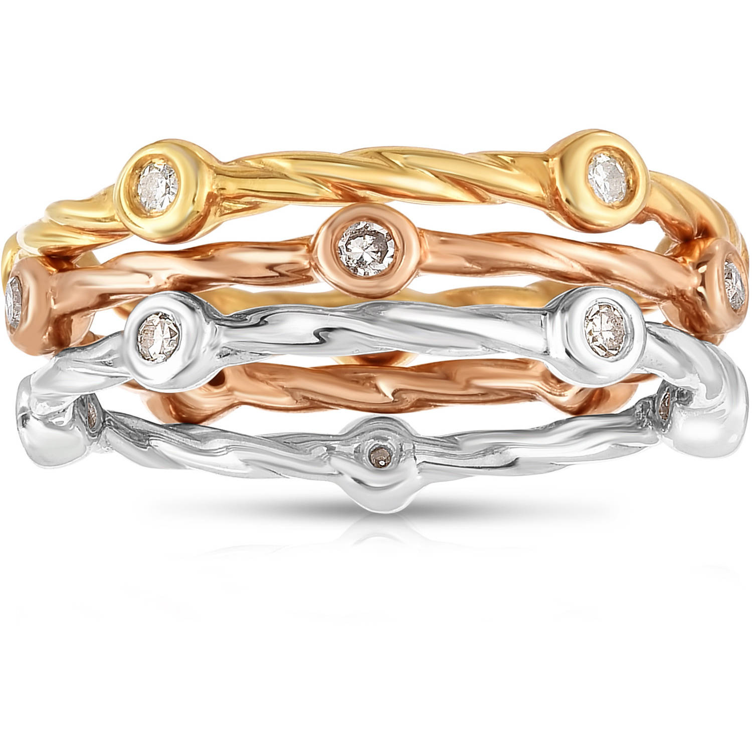 1/5 Carat T.W. White Diamond Tri-Color Silver Three Stacking Bands Fashion Ring