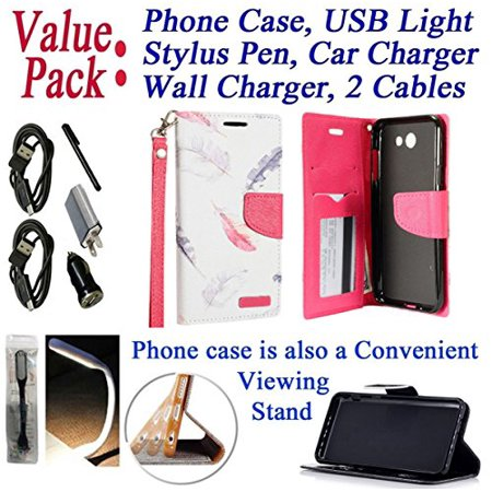 Value Pack Cables + for Samsung Galaxy J7 2017 SKY PRO / J7 PERX J7 V Case Phone Case Hybrid Fold Wallet Kick Stand Pouch Purse Screen Flip Cover Feathers