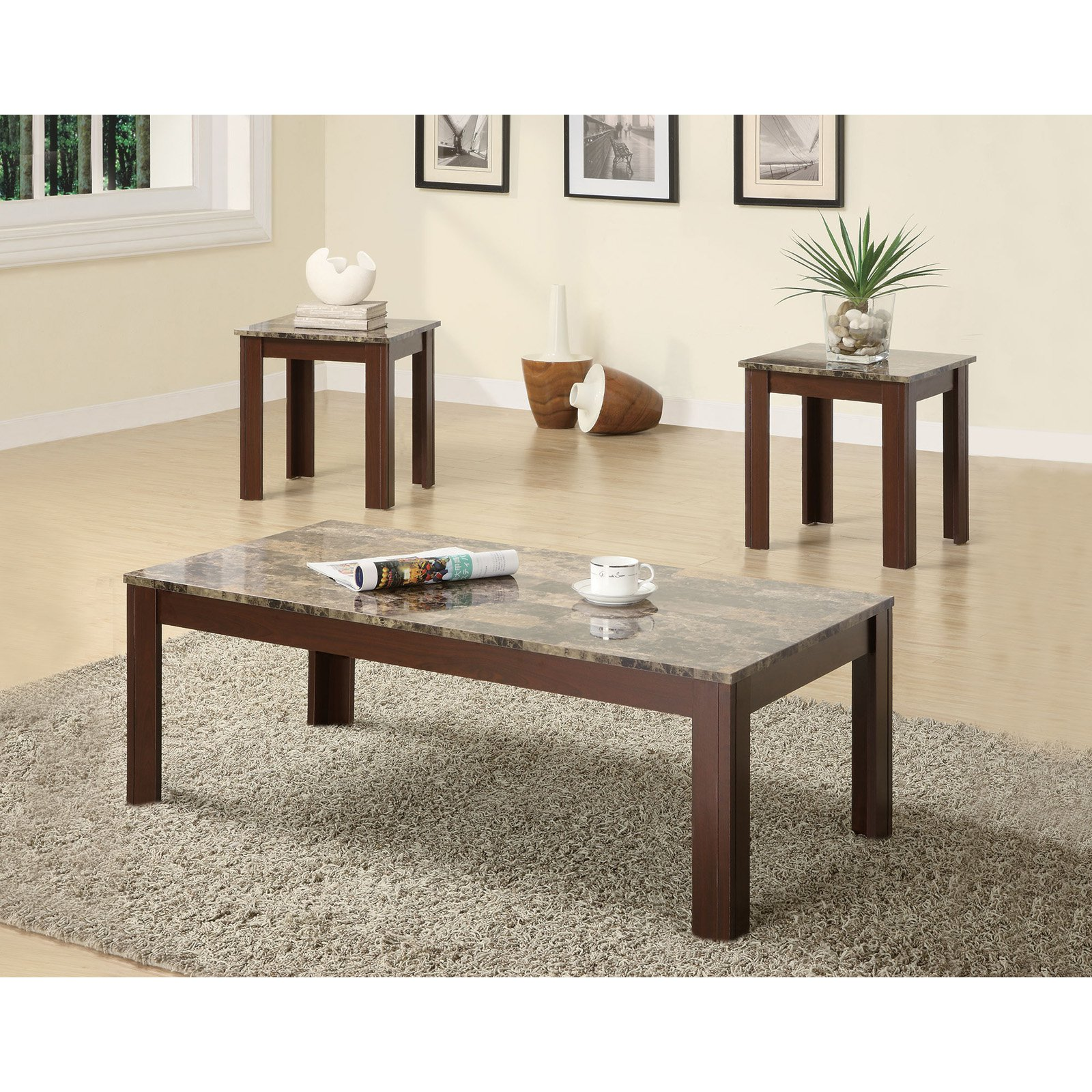 Coaster 3 Piece Table Set, Brown Marble Finish
