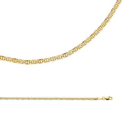 Anchor Link Chain Necklace - Mariner Chain Solid 14k Yellow Gold Anchor Necklace Hollow Bevelled Link Thin Genuine, 2.4 mm - 16,18,20,22,24 inch