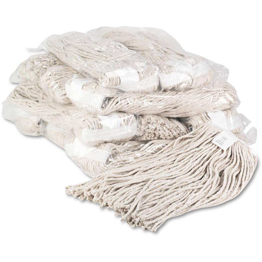 Boardwalk Premium White Cotton Cut-End Wet Mop Heads, 20oz, 12 ct