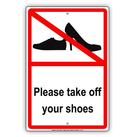 Please Take Just One Halloween Sign (Please Take Your Shoes Off With Graphic Courtesy House Rule Alert Caution Warning Notice Aluminum Metal Sign 8