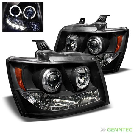 2007-2014 Chevy Tahoe Avalanche Twin Halo LED Projector Headlights Head Lights Lamp Pair L+R 2008 2009 2010 2011 2012 ()