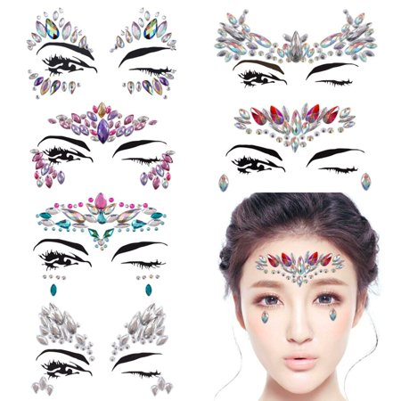 Halloween Face Tattoo Designs (Face gems Tattoo Set Mermaid Gem Rhinestones Eyes Body Stickers Crystals Glitter make up for Rave Party Festival( 6 PCS/C Style)