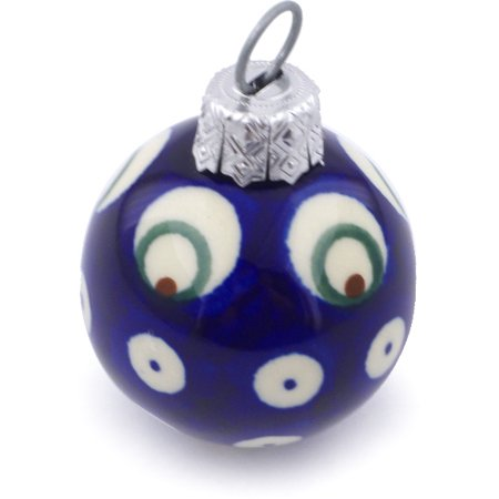 Polish Pottery 2-inch Ornament Christmas Ball (Peacock Eyes Theme) Hand Painted in Boleslawiec, Poland + Certificate of Authenticity ()