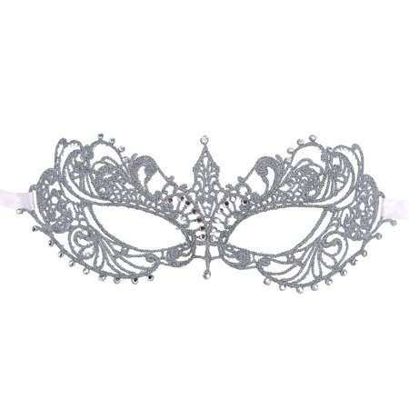 Elegant Greek Goddess Masquerade Opera Costume Crystal Gem Eye Lace Mask,Silver