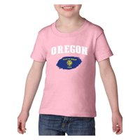 Oregon State Flag Heavy Cotton Toddler Kids T-Shirt Tee Clothing