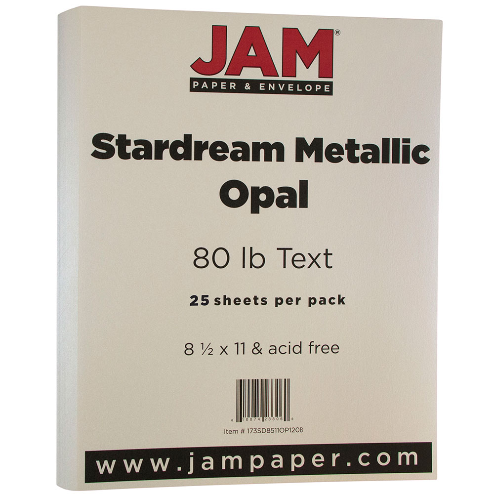 JAM Paper Metallic Paper, 8.5 x 11, 32lb Stardream Opal Ivory Stardream Metallic, 25 Sheets/pack