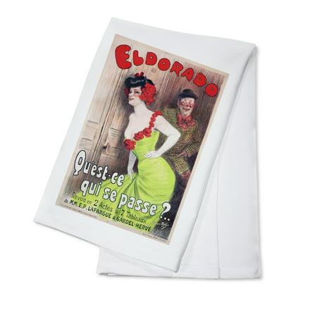 Eldorado   Quest   Ce Qui Se Passe  Vintage Poster  Artist  Redon  France C  1905  100  Cotton Kitchen Towel