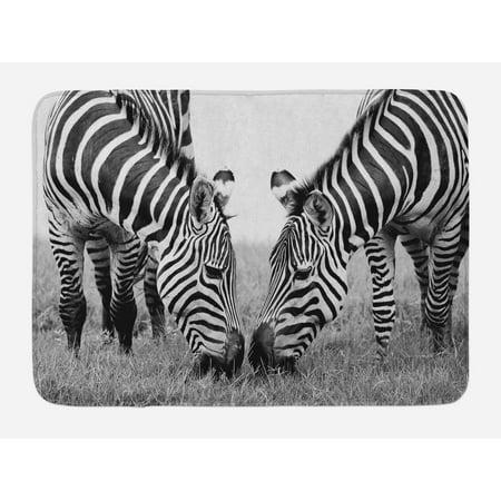 Animal Bath Mat, Zebras African Wildlife Burchell Safari Theme National Park Monochrome Picture, Non-Slip Plush Mat Bathroom Kitchen Laundry Room Decor, 29.5 X 17.5 Inches, Black White,