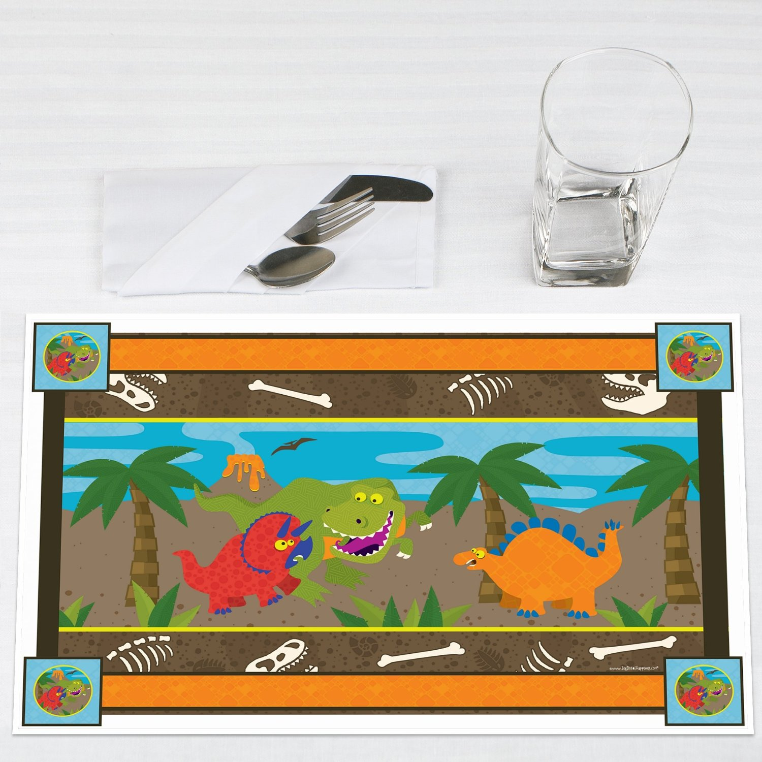 Dinosaur Birthday Party Placemats Set of 12 by Big Dot of Happiness, LLC