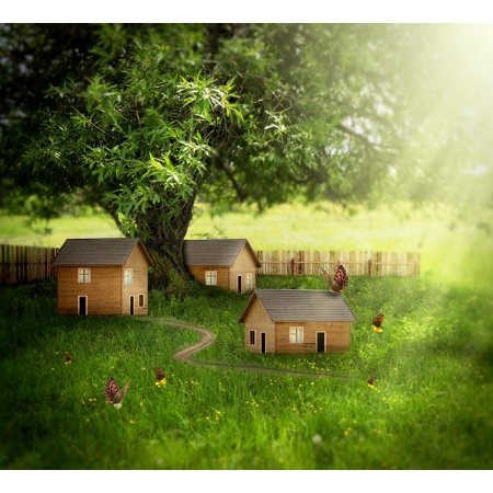 Canvas Print Fantasy Elves Fairy Tale Rural Butterflies House Stretched Canvas 10 x 14