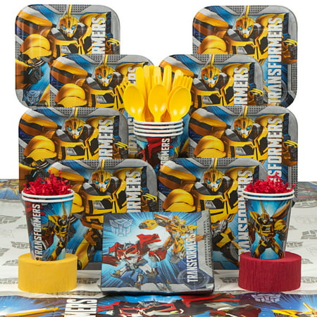 transformers birthday party deluxe tableware kit serves 8](Transformers Party Decorations)