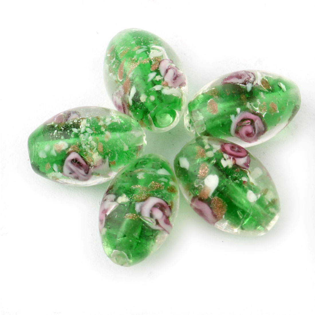 Jewelry Making Craft Flower Printed Loose Beads DIY Tool Green 11mm Dia 5pcs