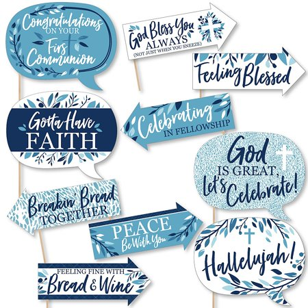 Funny First Communion Blue Elegant Cross - Boy Religious Party Photo Booth Props Kit - 10 Piece  - Communion Kits