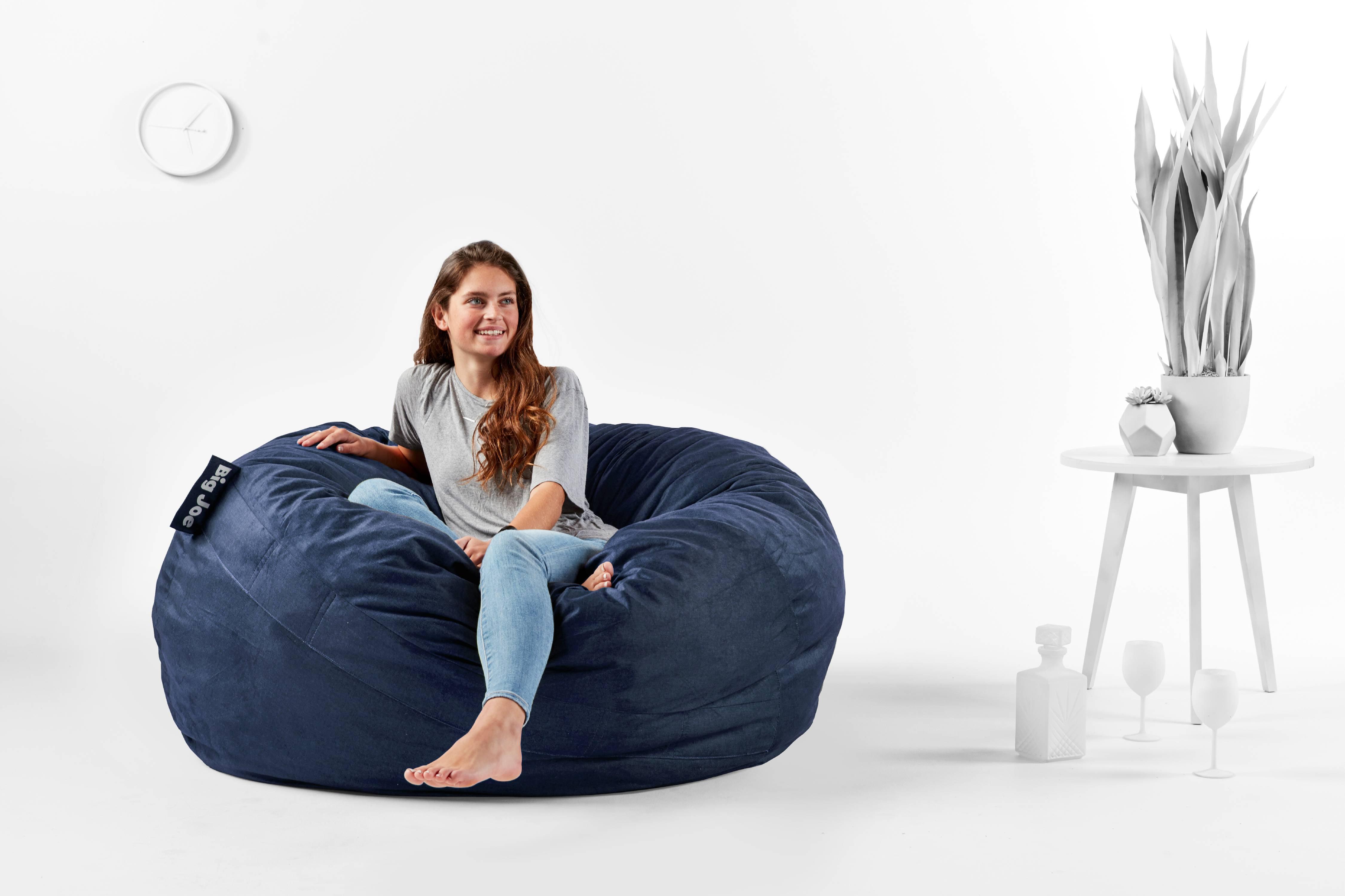 Astonishing Home Large Xxxl Size Black Color Comfort Suede Bean Bag Inzonedesignstudio Interior Chair Design Inzonedesignstudiocom