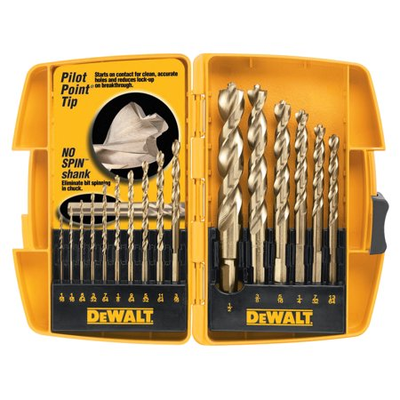 "DeWalt Gold Ferrous Oxide Drill Bit Sets, 1/16"" - 1/2"" Cut Diameter, 16-Piece"