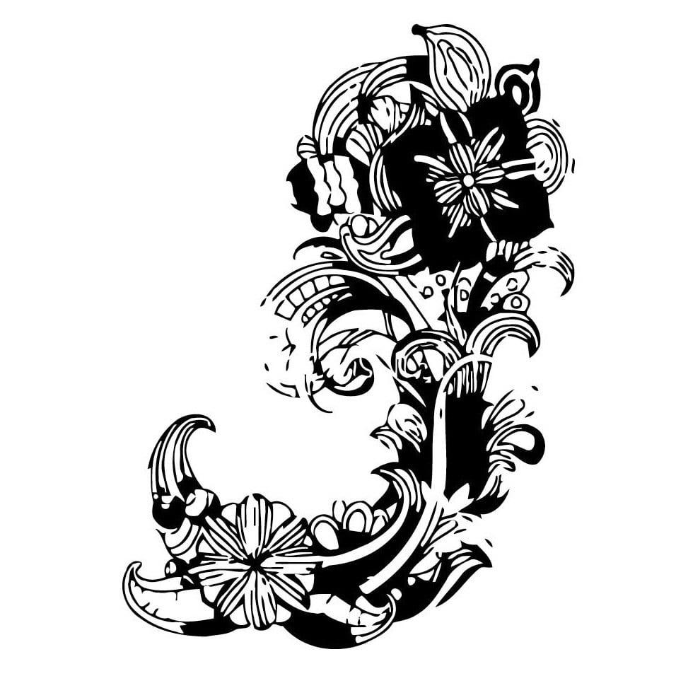 Vsgraphics llc Abstract Flowers Black Vinyl Wall Art