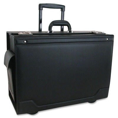 341626BLK Wheeled Catalog Case Leather-Trimmed Tufide 21-3/4 x 15-1/2 x 9-3/4 Inches Black (Tufide Leather)