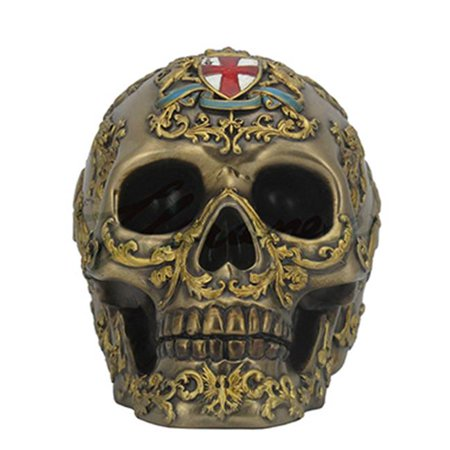 Golden Bronze Accent (St. George Coat of Arms Human Skull Figure Painted Gold Accents - Bronze )