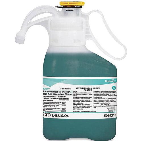 Diversey Crew Fresh Scent Restroom Floor & Surface SC Non-Acid Disinfectant Cleaner, 1.4 l