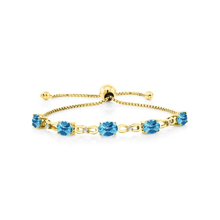 4.75 Ct Oval Swiss Blue Topaz 18K Yellow Gold Plated Silver Diamond Bracelet 18k Yellow Gold Bracelet