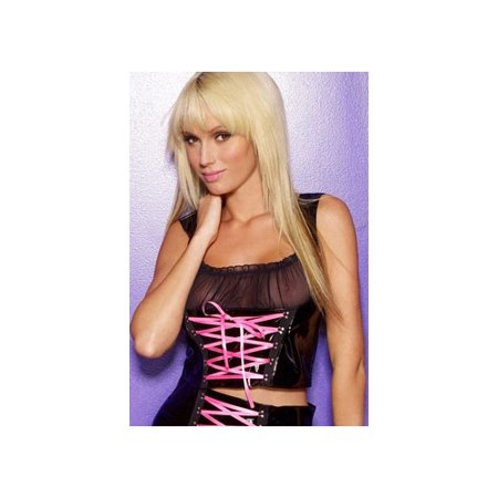 Vinyl Bustier (Allure Leather Vinyl Bustier With Ribbon 5-3077 Black/Pink )