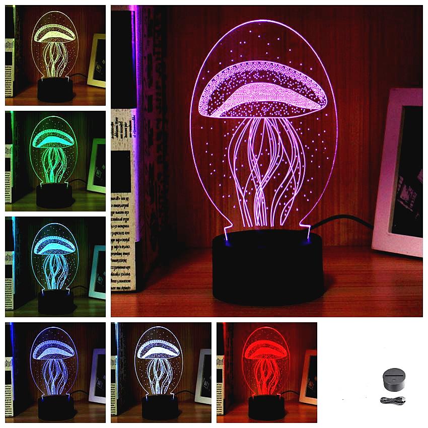 3D LED Night Light Colorful USB Acrylic Table Lamp Sleep Lamp Sea Jellyfish Kids Children Christmas Birthday Gift Push Button