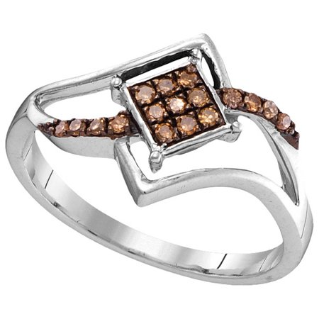 Size - 7 - Solid 10k White Gold Round Chocolate Brown And White Diamond Engagement Ring OR Fashion Band Prong Set Side Square Shaped Ring (.15