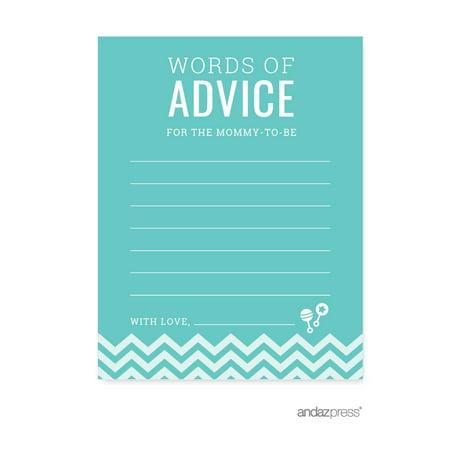 Advice Cards Diamond Blue Chevron Baby Shower Games, 20-Pack](White Baby Shower)