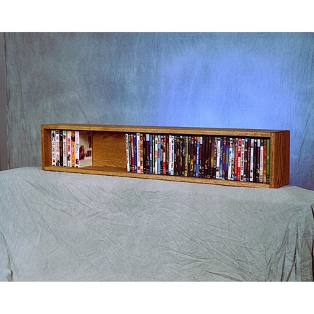 The Wood Shed Solid Oak Wall / Shelf Mount 118 CD / DVD / VHS Media Cabinet (Wall Mounted Audio Video Console)