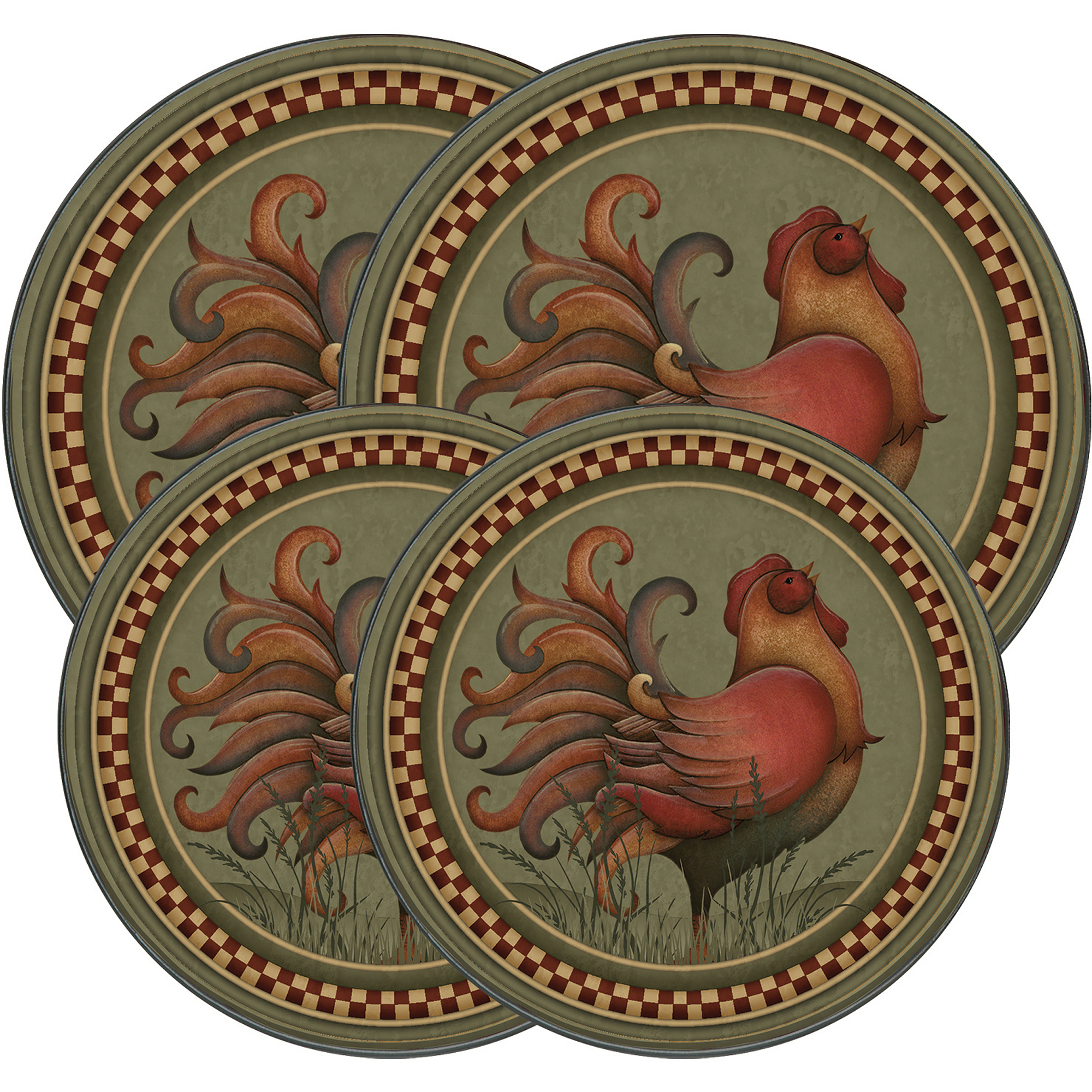"Range Kleen 4-Piece Burner Kover Set, Round, Decorative ""Rooster"""