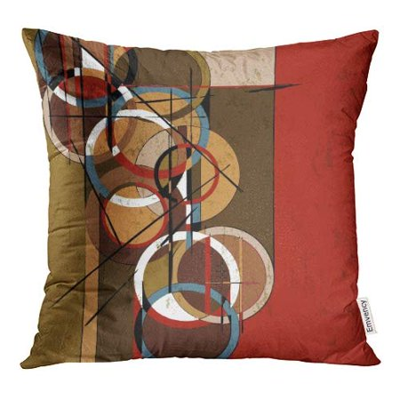 ECCOT Red Oil Abstract Circle Retro Vintage Paint Strokes and Splashes Brown Modern Pillow Case Pillow Cover 20x20 inch Genuine Vintage Retro Circle