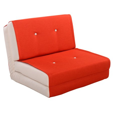 Fold Down Chair Flip Out Lounger Convertible Sleeper Bed Couch Dorm Orange