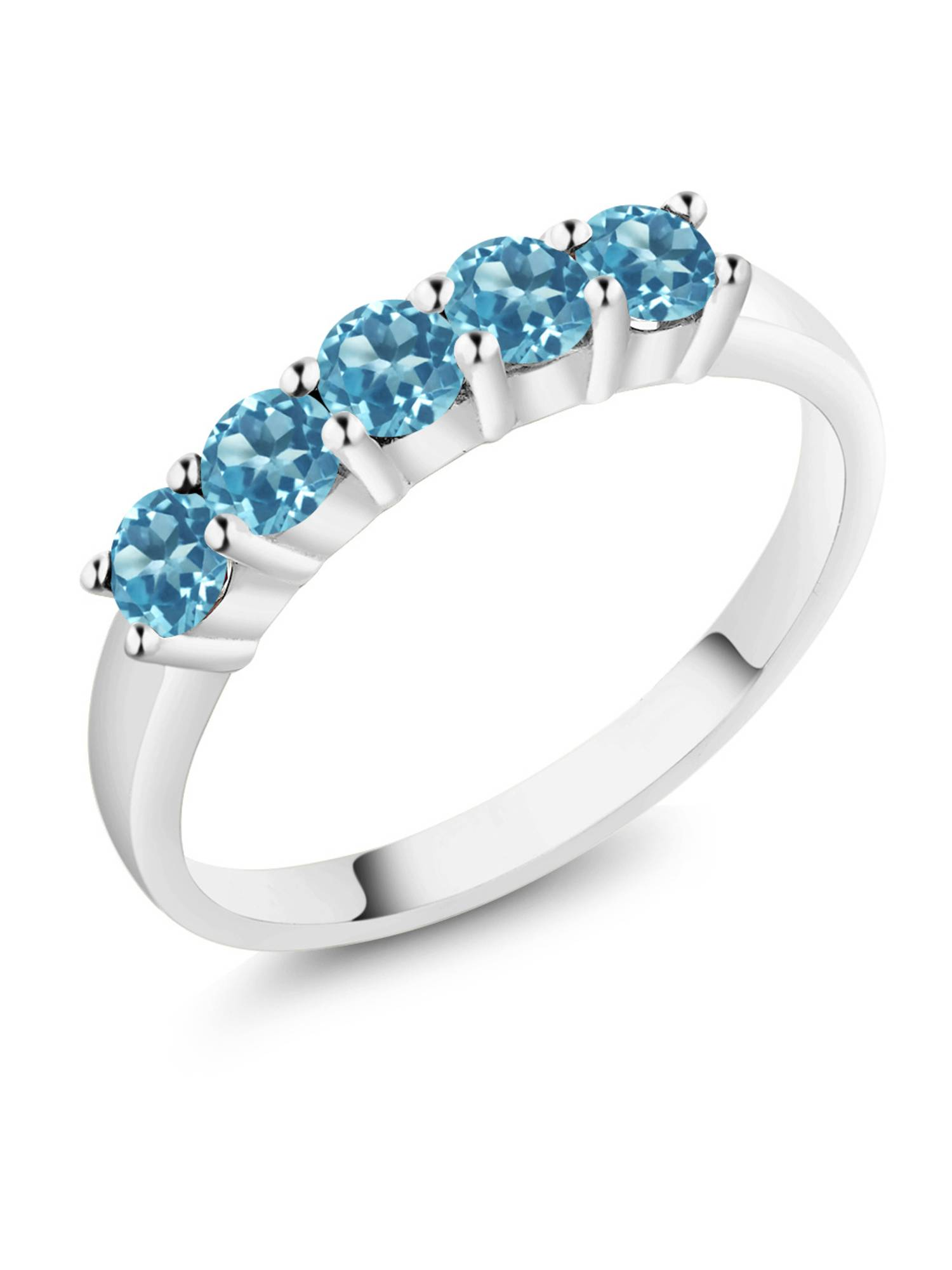 1.00 Ct Round Swiss Blue Topaz 18k White Gold Ring by