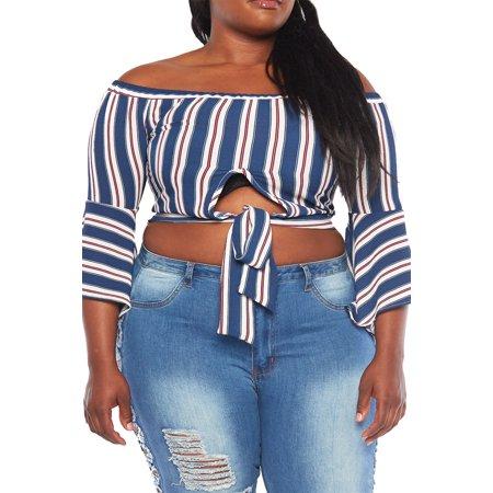 936c7da5cf3e4b Genx - Womens Plus Size Off Shoulder Vertical Stripe Bell Sleeves Crop Top  T17633-XL-Navy - Walmart.com