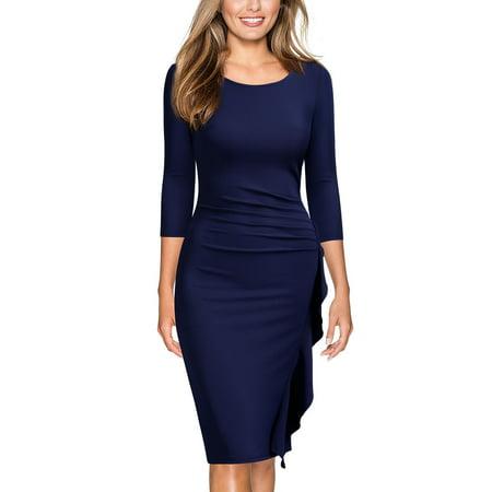 85bc303aa0b MIUSOL - MIUSOL Women s Elegant Business Cocktail Party 3 4 Sleeve Ruffles  Slim Fit Pencil Dress(Navy Blue