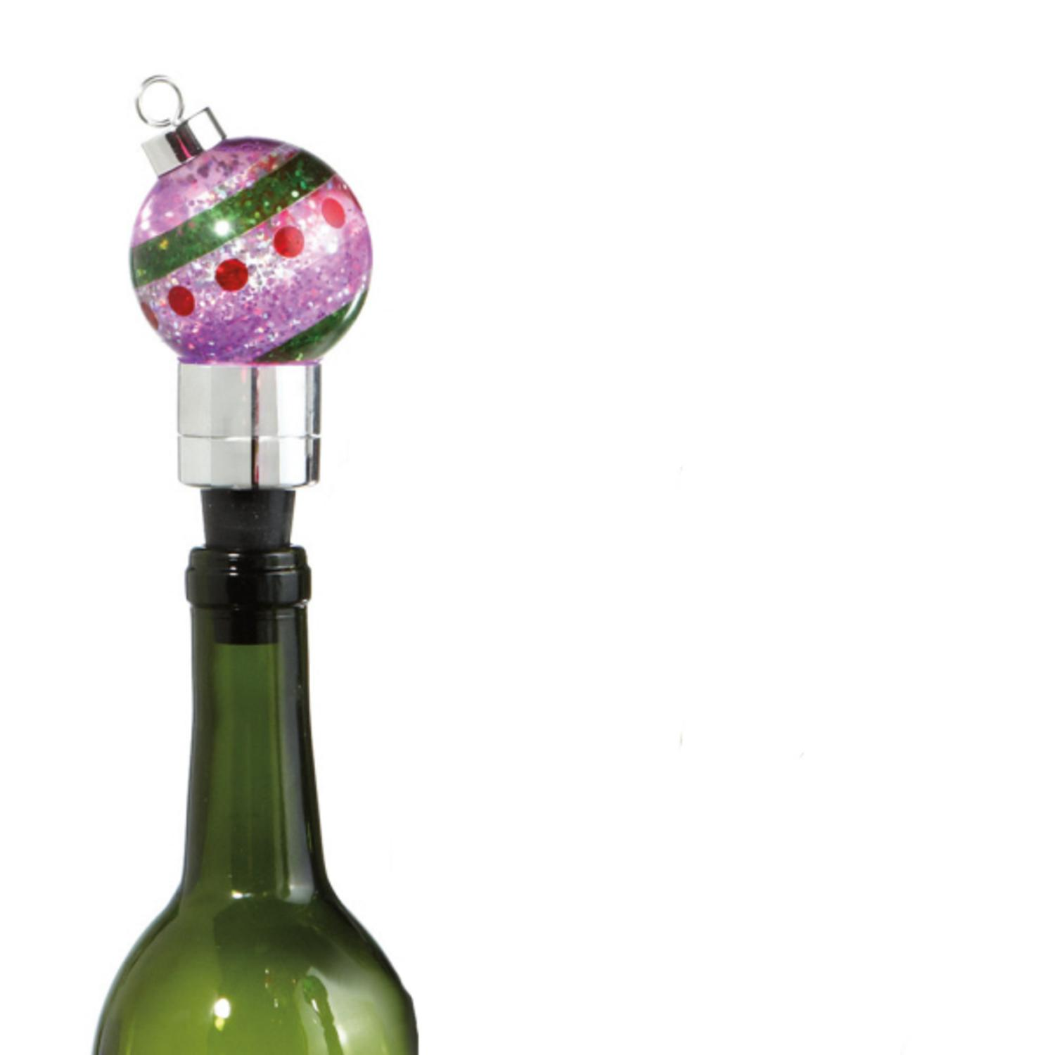 """4.5"""" Purple LED Lighted Color Changing Christmas Ornament Wine Bottle Stopper"""