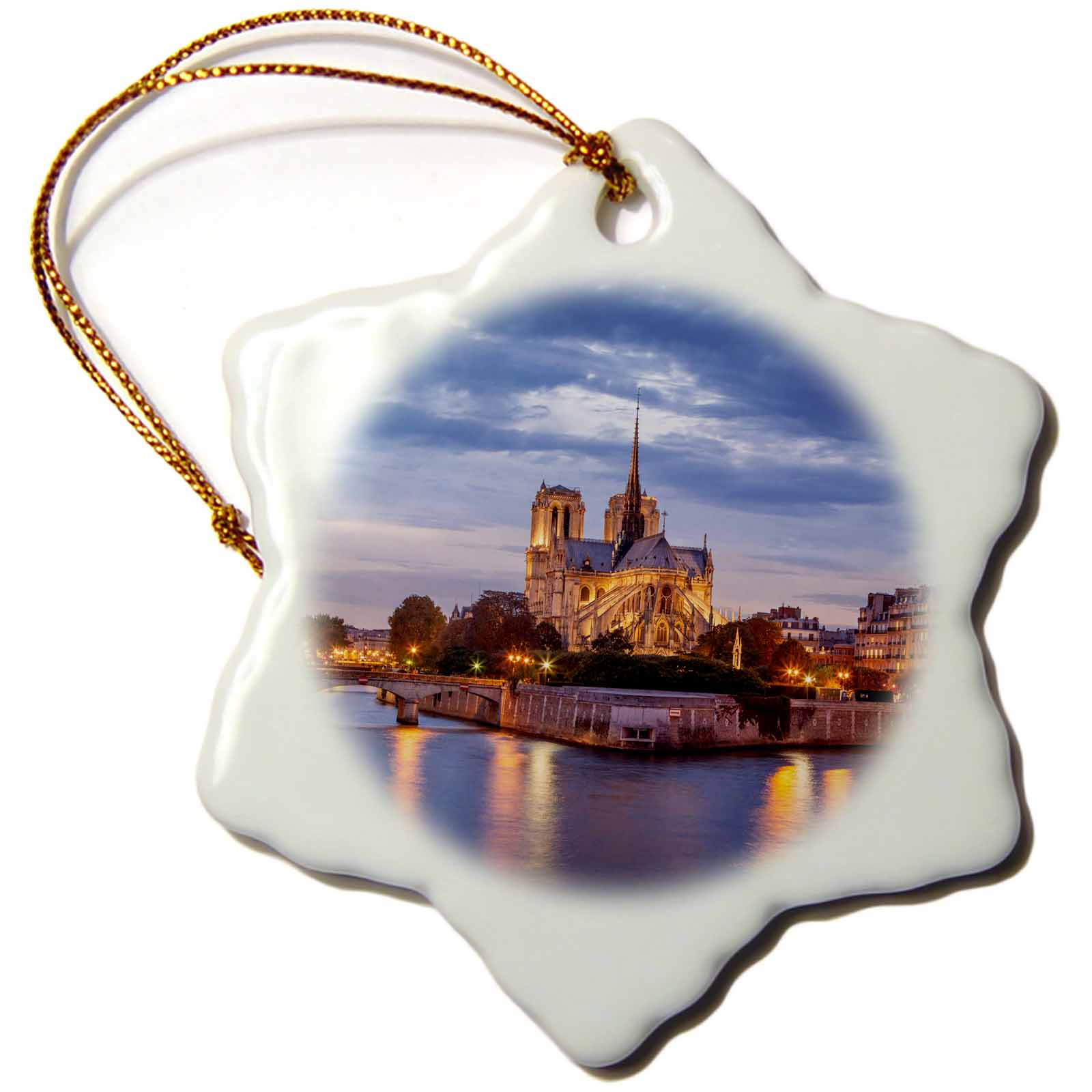 3dRose Cathedral Notre Dame and River Seine, Paris, France., Snowflake Ornament, Porcelain, 3-inch