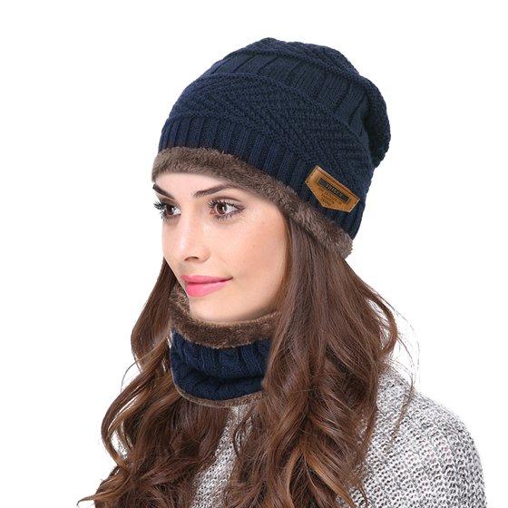 ca004945f33b6 Vbiger - VBIGER 2-Pieces Winter Beanie Hat Scarf Set Warm Knit Hat ...