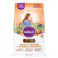 Halo Grain Free Natural Dry Cat Food, Kitten Chicken & Chicken Liver Recipe, 6-Pound Bag