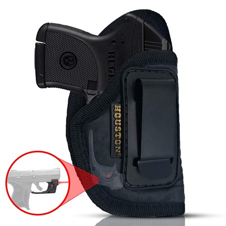 IWB Gun Holster by Houston - ECO LEATHER Concealed Carry Soft Material | Suede Interior | Fits: ANY SMALL 380 WITH LASER, Keltec, Ruger LCP, Diamond Back, Small 25 & 22 CAL (right)