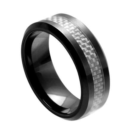 8Mm Ceramic With Light Gray Carbon Fiber Inlay Wedding Band Ring For Men And Ladies
