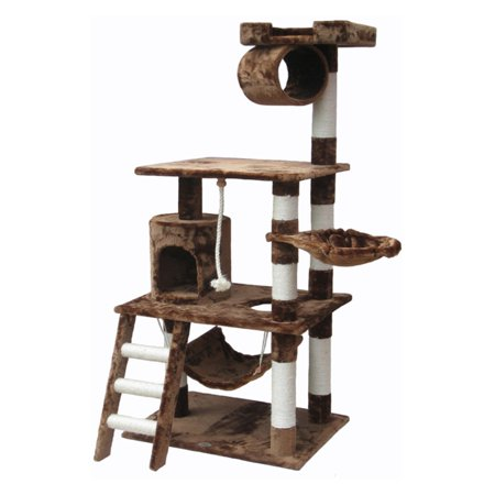 Go Pet Club Cat Tree Furniture 62 in. High GPC1095FeaturesEasy to assemble with step by step instruction and tools includedCat treeColor: BrownFrame Material: WoodStyle (Old): Traditional DimensionsBase board dimensions: 26  W x 19  DOverall Height - Top to Bottom: 62 Overall Width - Side to Side: 38 Overall Depth - Front to Back: 27 Color BeigeOverall Product Weight: 42 lbsColor BlackOverall Product Weight: 38 lbs