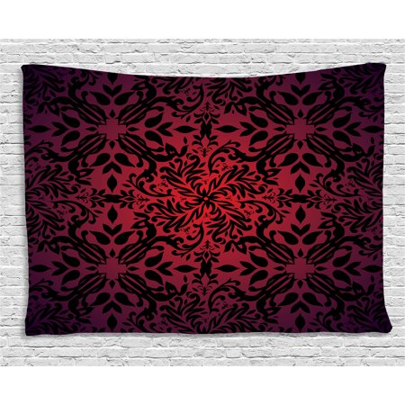 Red and Black Tapestry, Indian Mandala Ethnic Oriental Design Flowers Leaves Frame Image, Wall Hanging for Bedroom Living Room Dorm Decor, 80W X 60L Inches, Burgundy and Scarlet, by Ambesonne