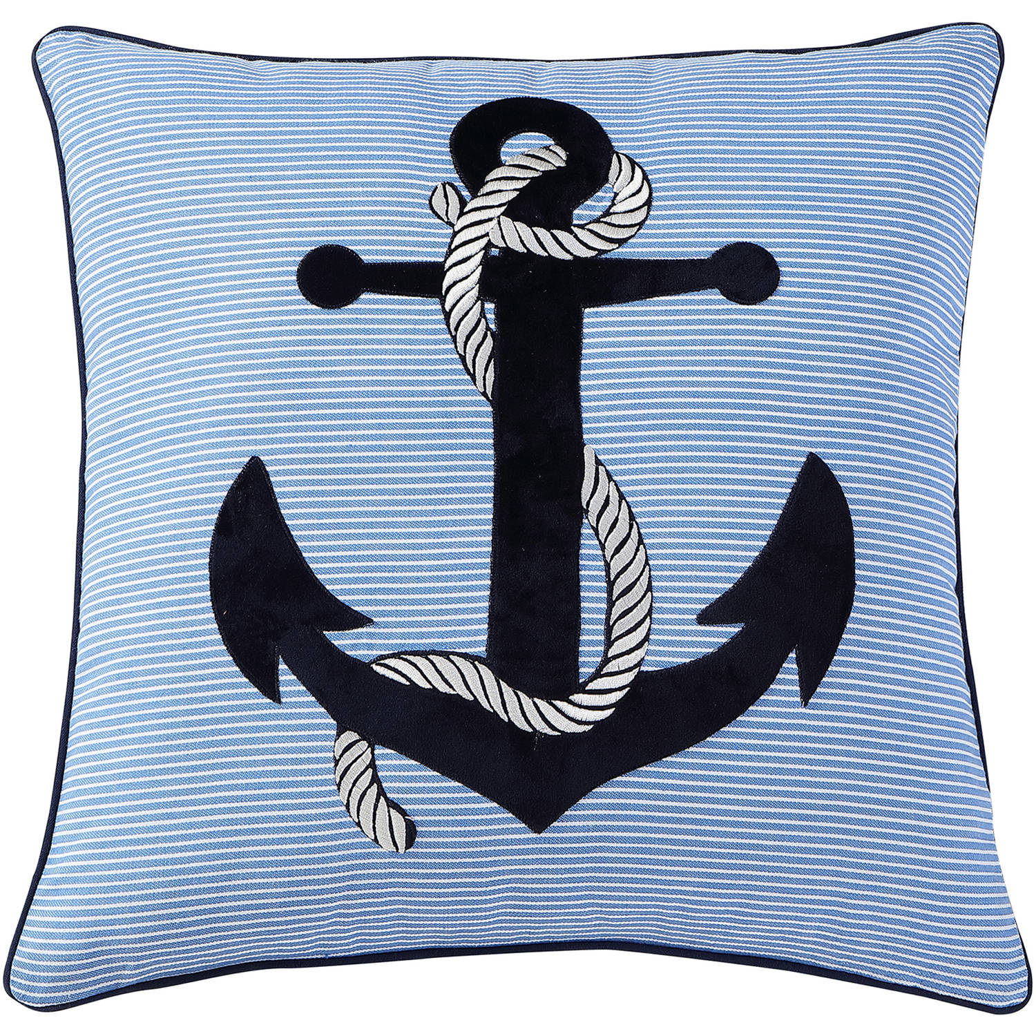 "VCNY Home Blue Embroidered Nautical Anchor 18"" x 18"" Cotton Decorative Throw Pillow"