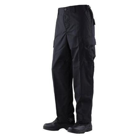 BDU Trousers Black 100% Cotton Rip-Stop, Medium Long ()